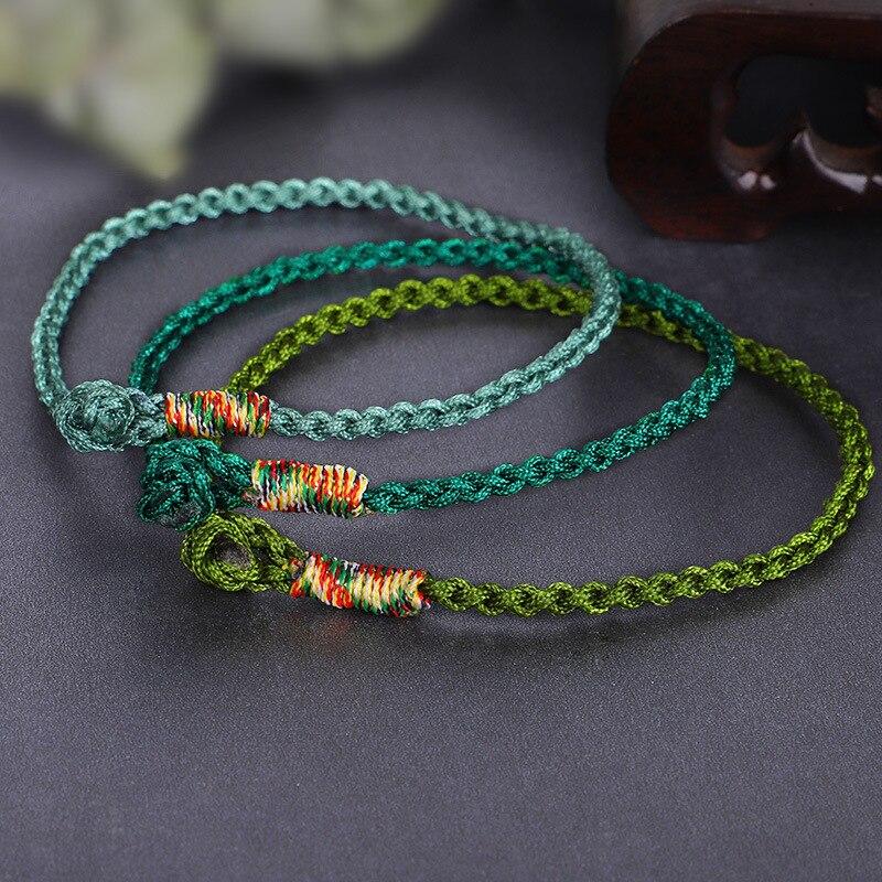 Meetvii Handmade Lucky Green Bracelets & Bangles For Women Men Tibetan Buddhist Hand Braided Knots Rope Adjustable Bracelets