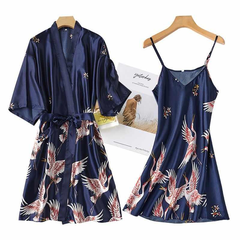 Phụ Nữ Rayon 2 Chiếc Áo Dây Bộ Cô Dâu Phù Dâu Cưới Áo Dây Áo Choàng Gợi Cảm Kimono Áo Choàng Tắm Đêm VÁY ĐẦM VÁY NGỦ Đồ Ngủ