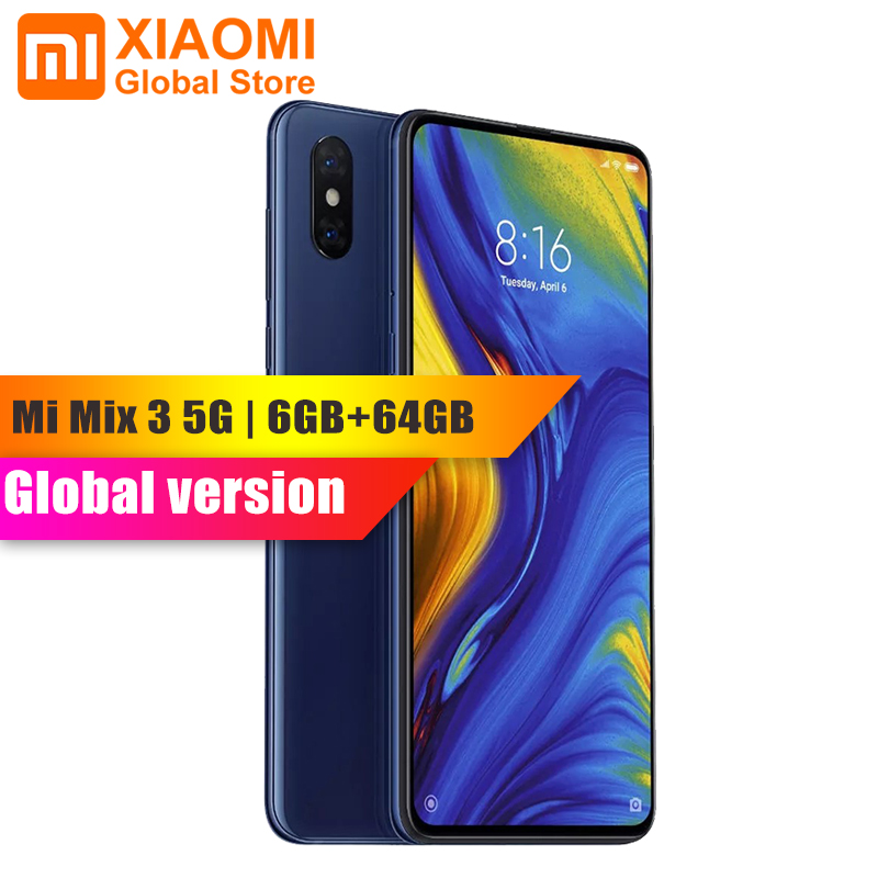 "Global Version Xiaomi Mi Mix 3 5G Version 6GB 64GB Smartphone Snapdragon 855 Octa Core 24MP Camera 6.39"" AMOLED NFC Mobile Phone"