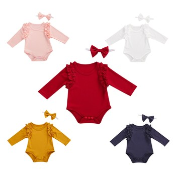 2020 New Fall Autumn Infant Baby Girls Yellow/Pink/White/Red/Blue Long Sleeve Sweet Ruffled Bodysuit+Headband 2Pcs Set Clothes тюбинг sweet baby rider 90 red blue