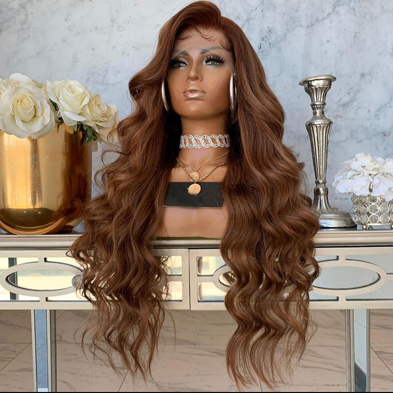 Full Lace Human Hair Wigs Natural Light Beown Color 8 - 24 Inch Long Brazilian Wave Pre Plucked Glueless Full Lace Wig With Baby