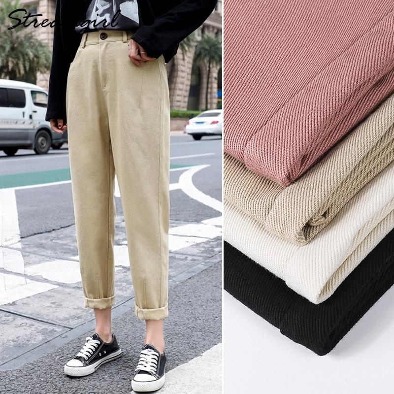 Women's Cargo Pants Women Summer High Waist Khaki Women's Trousers Beige Cotton Loose Harem Pants For Women Pantalon Cargo Femme