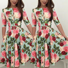 Goocheer Women Summer Long Sleeve Floral Dress Party Beach Sundress