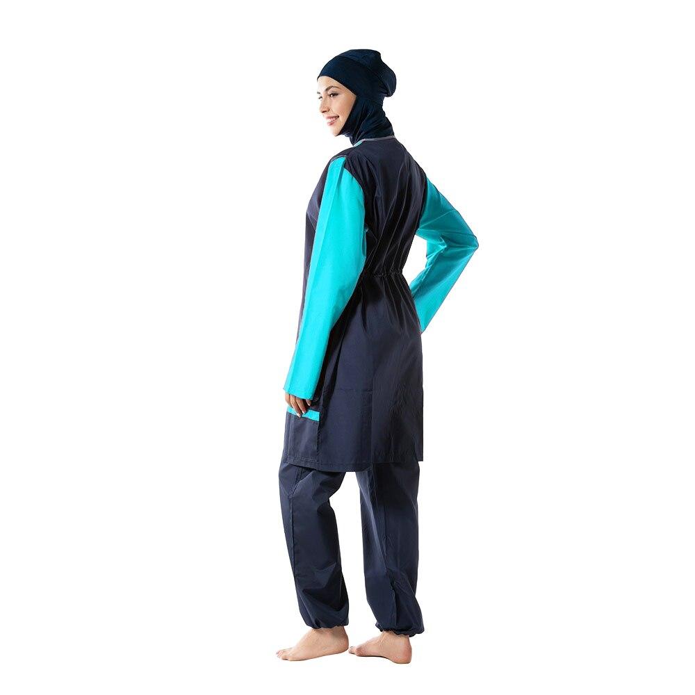 2019 Women's Muslim Swimwear Burkinis Stitching Conservative Hijab Swimsuit Suit Full Cover Large Size Islamic Beachwear
