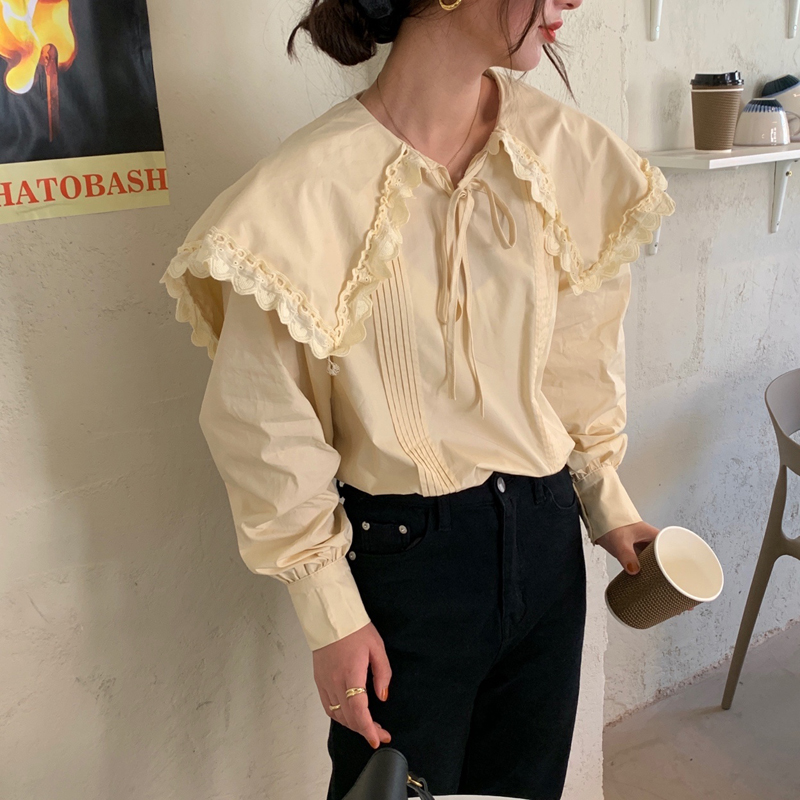 H4c78871288aa418686822d38616215a4T - Spring / Autumn Lace-Up Collar Long Sleeves Loose pleated Solid Blouse