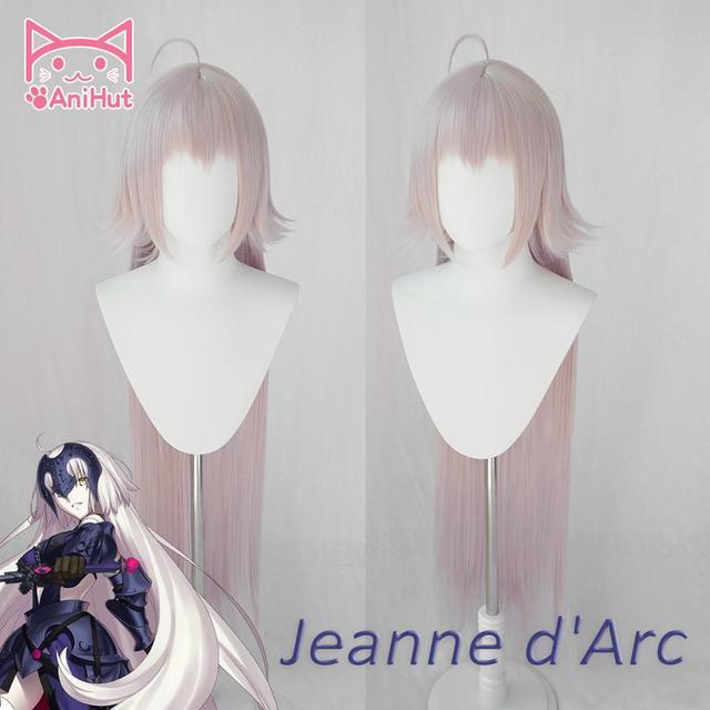شعر مستعار AniHut Alter Jeanne dArc لعبة FGO شعر مستعار تأثيري النسخة الوردي مصير الطلب الكبير تأثيري الشعر تغيير Jeanne dArc النساء الشعر