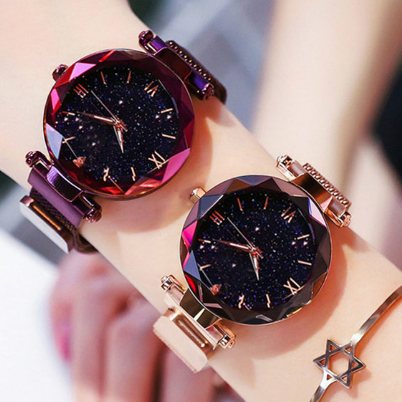 2019 Starry Sky Roman Numeral Luxury Women Watches Fashion Elegant Magnet Buckle Vibrato Purple Ladies Wristwatch Gift Clock D7