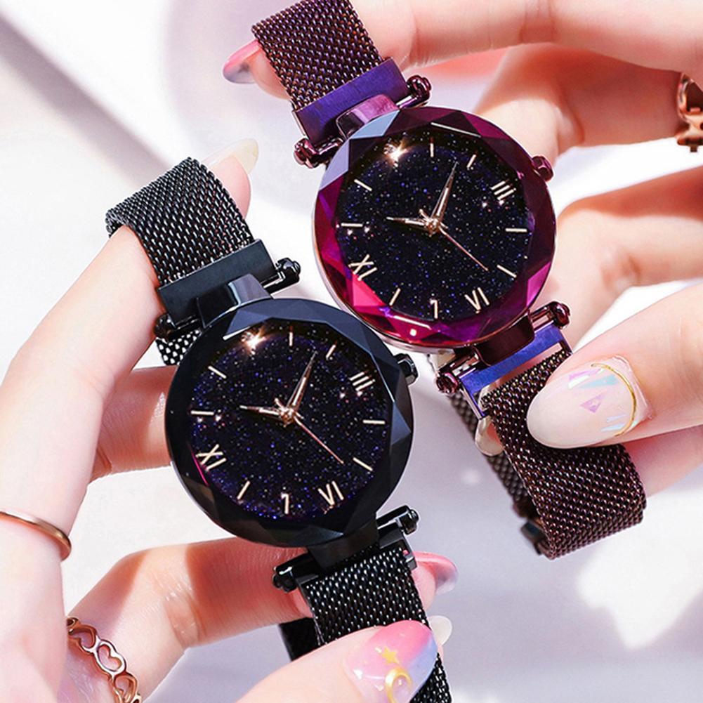 Women Starry Mesh Band Magnetic Buckle Roman Numeral Analog Quartz Wrist Watch Relogio Masculino Zegarek Damski New Hot Sale Vin