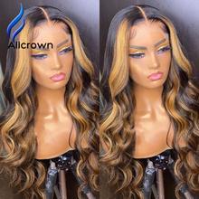 Alicrown resaltar peluca brasileña del cuerpo de la onda de encaje frente pelucas de cabello humano 13x4 peluca Frontal de color marrón pelucas de cabello humano Pre-arrancado
