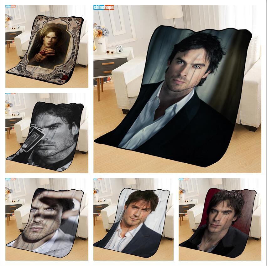 New Arrival Ian Somerhalder Blankets Printing Soft Nap Blanket On Home/Sofa/Office Portable Travel Cover Blanket-0
