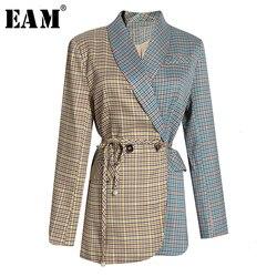 [EAM] Bandage Skirt Plaid Two Piece Suit New Lapel Long Sleeve Black Loose Fit Women Fashion Tide Spring Autumn 2020 1H694