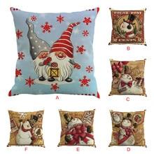 цена на Cute christmas snowman Printing Pillow Casw 45cm*45cm High Quality Sofa Waist Throw Cushion case Bed Home Decoration
