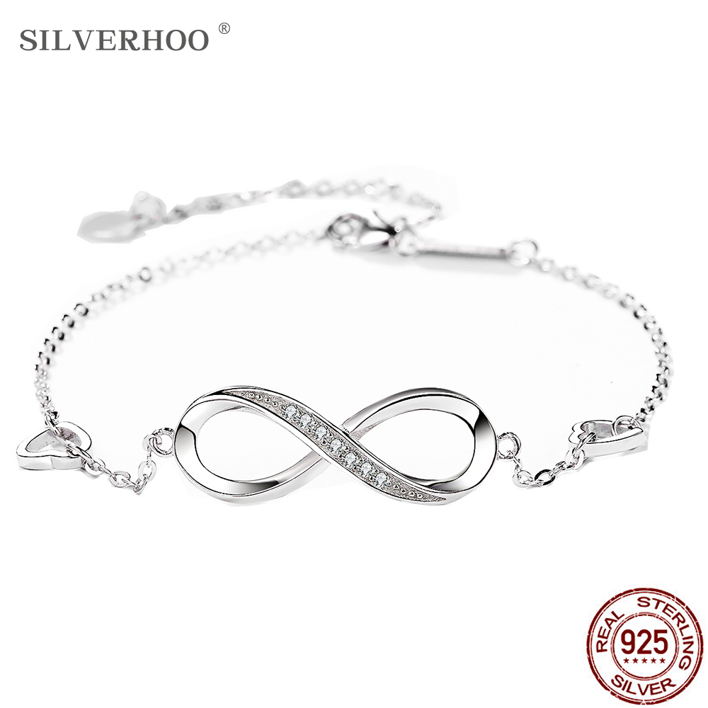 SILVERHOO 925 Sterling Silver Infinite Women's Adjustable Friendship Bracelet Wedding Gift Creative Fashion Zircon Bracelet