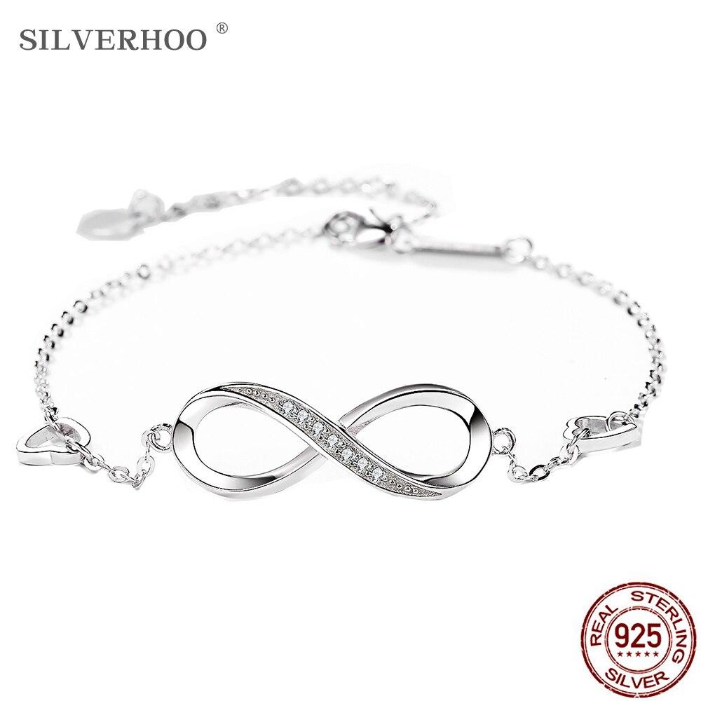 SILVERHOO 925 Sterling Silver Infinite Women's Adjustable Friendship Bracelet Wedding Gift Creative Fashion Zircon Bracelet