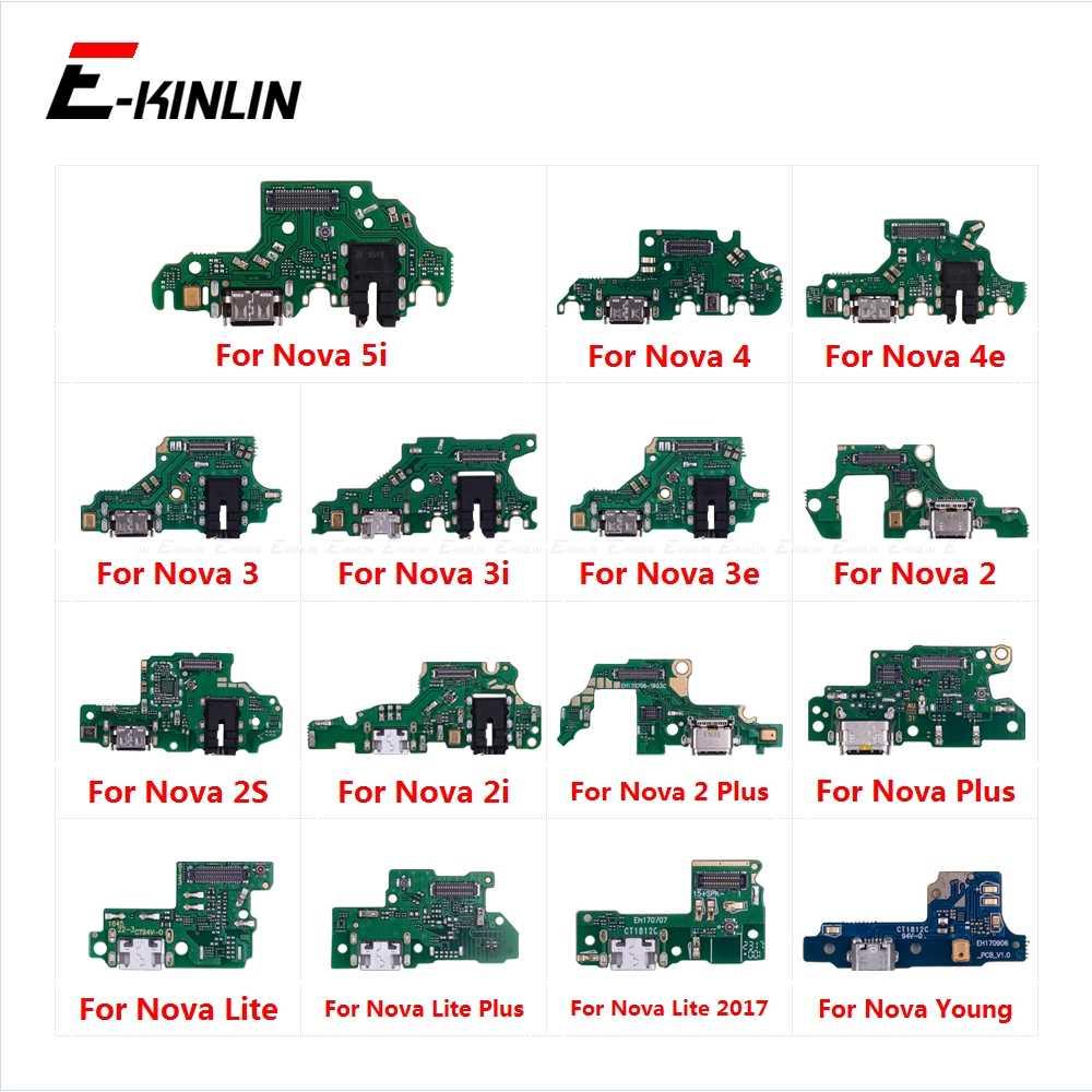 Partes del conector del puerto de carga Cable flexible con micrófono Mic para HuaWei Nova 5i 4e 4 3 3i 3e 2 2S 2i Plus Lite 2017 jóvenes