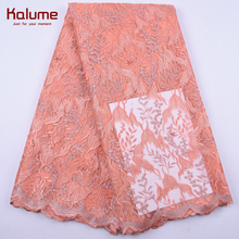 Kalume Peach African Dry Lace Fabric Embroidery French Mesh Net Lace Fabric With Stones And Beads For Nigerian Party Dress 2056