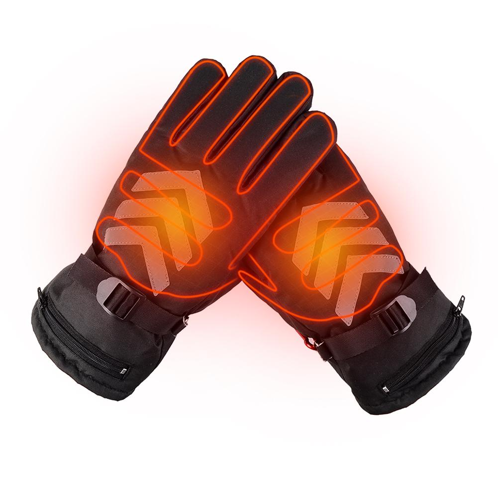Motorcycle Electric Rechargeable Heated Gloves Waterproof Insulated Night Reflective Touch Screen Gloves For Men Women US Plug