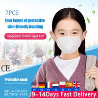 7Pcs Children KN95 Face Mouth Mask Dustproof Breathable Face Masks N95 Filter Mouth Masks 4-Layer Respirator Safety Protection