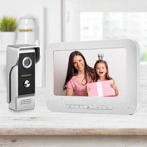 Image 3 - 7 بوصة السلكية جرس باب يتضمن شاشة عرض فيديو إنترفون كاميرا غير نافذ للمطر البصرية نظام اتصال داخلي فيديو باب الهاتف شحن مجاني