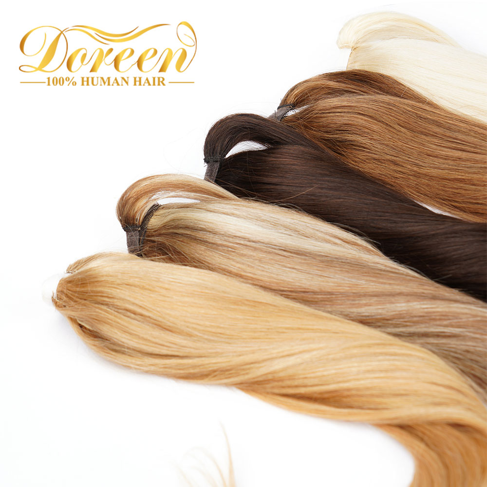 """Dorren Clip in Human Hair Extensions Machine Made Remy Brazilian Human Hair Ponytail Hairpieces Light Brown 14"""" to 22"""