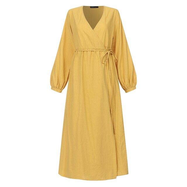 2021 Autumn Solid Sundress ZANZEA Casual V Neck Cotton Linen Dress Women Long Sleeve Maxi Long Vestido Female Kaftan Robe Belted 5