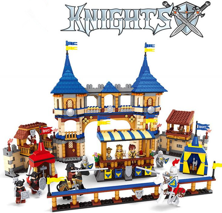 City <font><b>Castle</b></font> Knights Fight <font><b>Medieval</b></font> Arena Model Building Blocks DIY King queen Figures Educational Bricks Toys Gift For Children image
