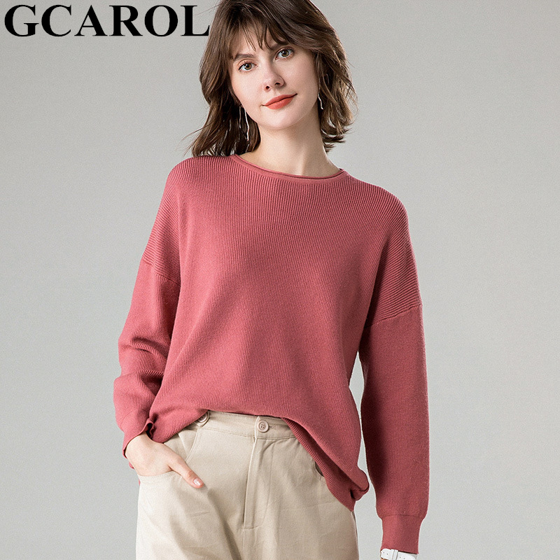 GCAROL Autumn Winter Oversized Women Sweater 30% Wool Threaded Cuff Drop Shoulder Jumper Casual Lazy Thick Knitted Pullover 2XL