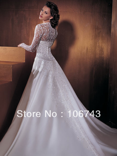 Embroidery Wedding Dresses Free Shipping Hot Saler 2016 Beaded Long Formal Dress Custom Size/color With Long Sleeve Lace Jacket