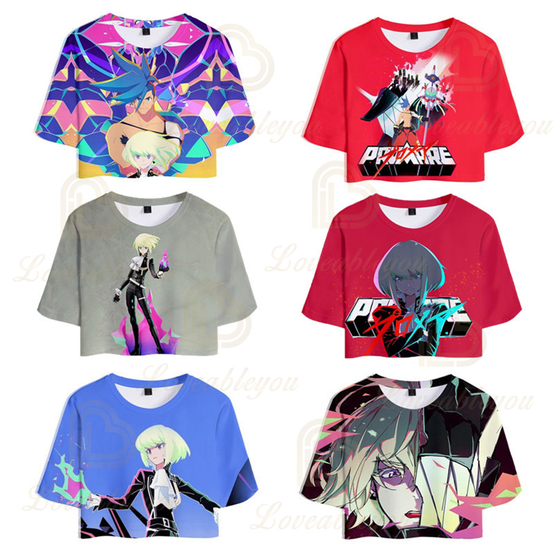 Japan Animation PROMARE Summer Tshirt Harajuku Sexy Crop Top Women T Shirt Funny T- Shirt Female Tees