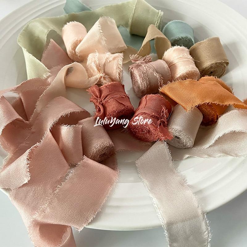 Лента из натурального чистого шелка с вышивкой, сатин, хлопок, необработанный край для рукоделия, свадебный букет для свадебной вечеринки, п...