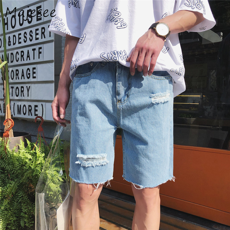 Harajuku Summer Men Casual Shorts Denim Mens Short Hole Straight Loose Thin Button Pocket Fashion Male Korean Style New Trendy