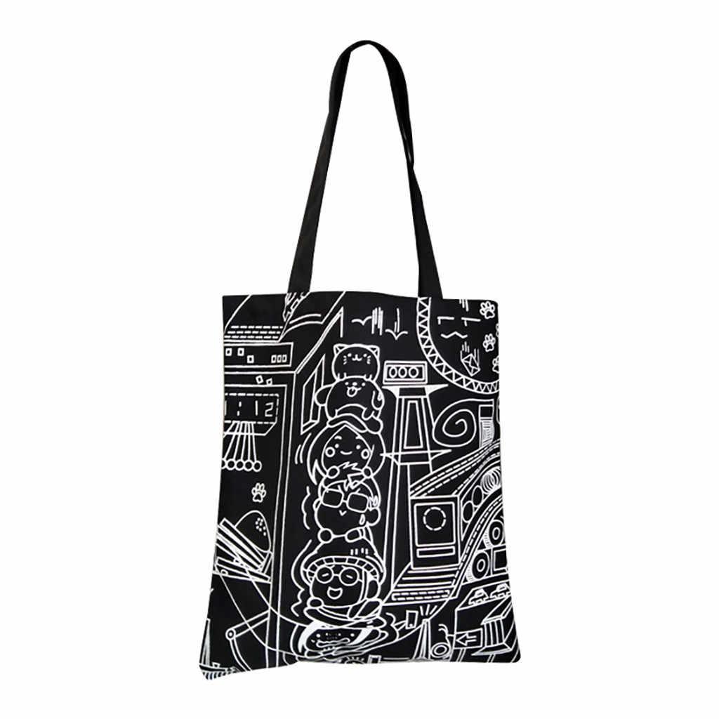 20 # Wanita Kanvas Printing Dapat Digunakan Kembali Bahu Tas Hitam Retro Punk Rock Tas Belanja Fashion Gothic Tas Selempang untuk wanita