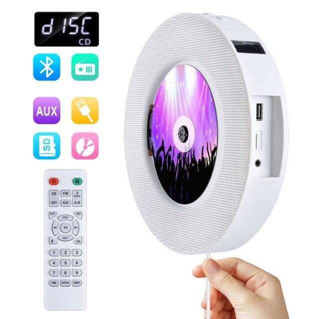 Qosea taşınabilir duvara monte Bluetooth CD çalar USB sürücüsü LED ekran HiFi hoparlör ses uzaktan kumanda ile FM radyo dahili