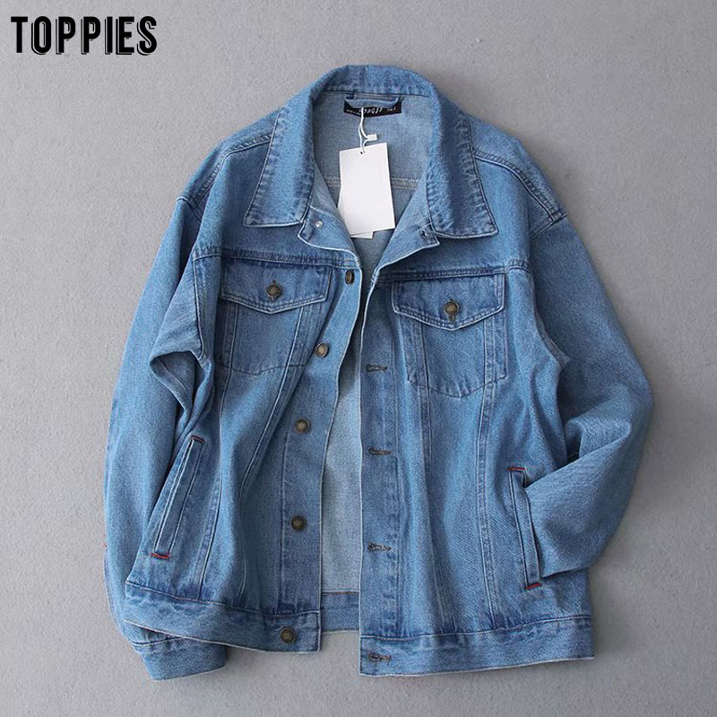 Toppies Classic Blue Jeans Jackets Womens Boyfriend Style Oversize Coat Woman Jacket 2020 Spring Plus Size Clothes