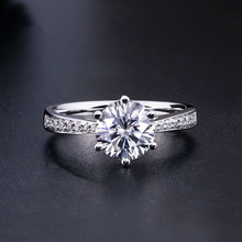 Pure 18K White Gold 1ct 2ct 3ct Round Cut Moissanite Ring Single row drill Engagement Anniversary For Women