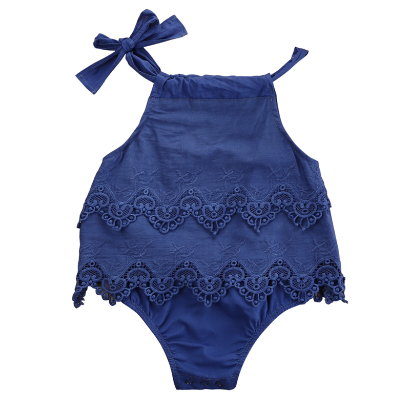 0-18M baby lace clothes Newborn Baby Girls Lace Sleeveless Romper Cotton Jumpsuit Outfit Sunsuits