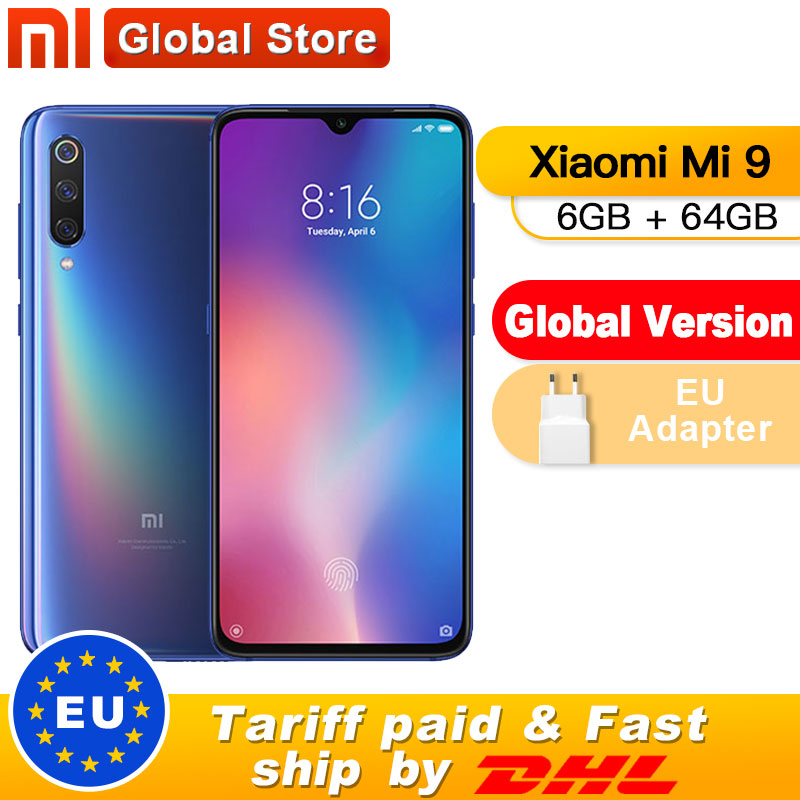 "Global Version Xiaomi Mi 9 Mi9 6GB 64GB Mobile Phone Snapdragon 855 Octa Core 6.39"" 48MP Triple Camera In Display Fingerprint"