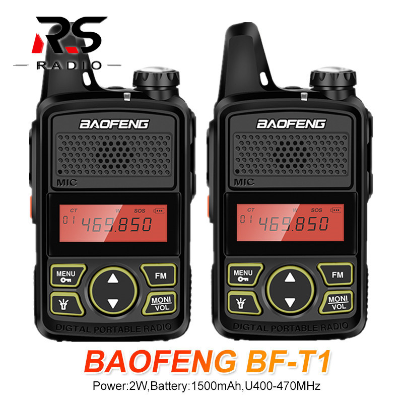 2PCS BAOFENG BF-T1 Mini Kids Walkie Talkie 16CH CB Ham Radio UHF 400-470MHz Transmitter USB Charger Woki Toki Transceiver Bf T1