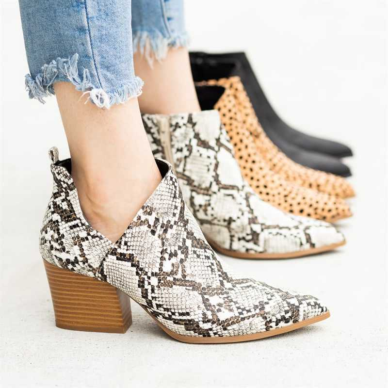 Print Snake Pu Women Ankle Boots Zip Pointed Toe Footwear Thick High Heels Female Boot Shoes Women 2020 snakeskin Bootie Shoes
