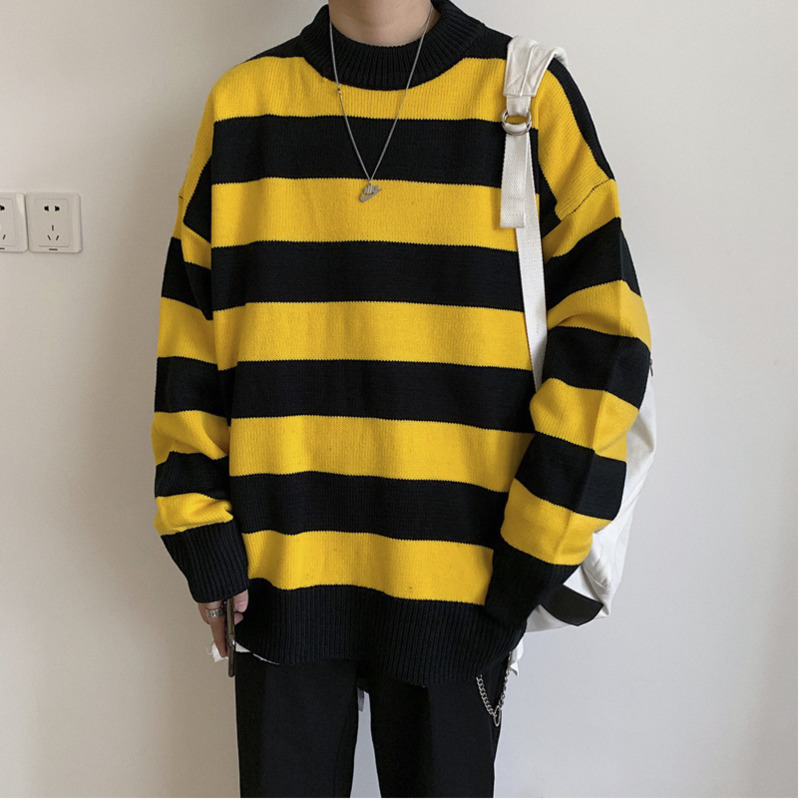 UYUK2019 Autumn And Winter Models Trend Street Loose Casual Wild Stitching Stripes Contrast Color Men's Sweater Men Hombre
