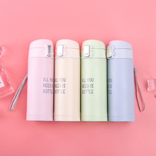 цена на 4 Candy color 350ML 304 stainless steel bounce Hot water insulation cup portable outdoor couples water cup thermos vacuum flask