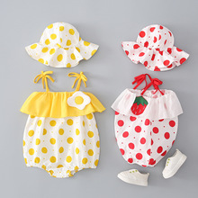 YG brand summer new lovely Hooded Baby suit baby girl sling one piece clothes newborn baby triangle short climb