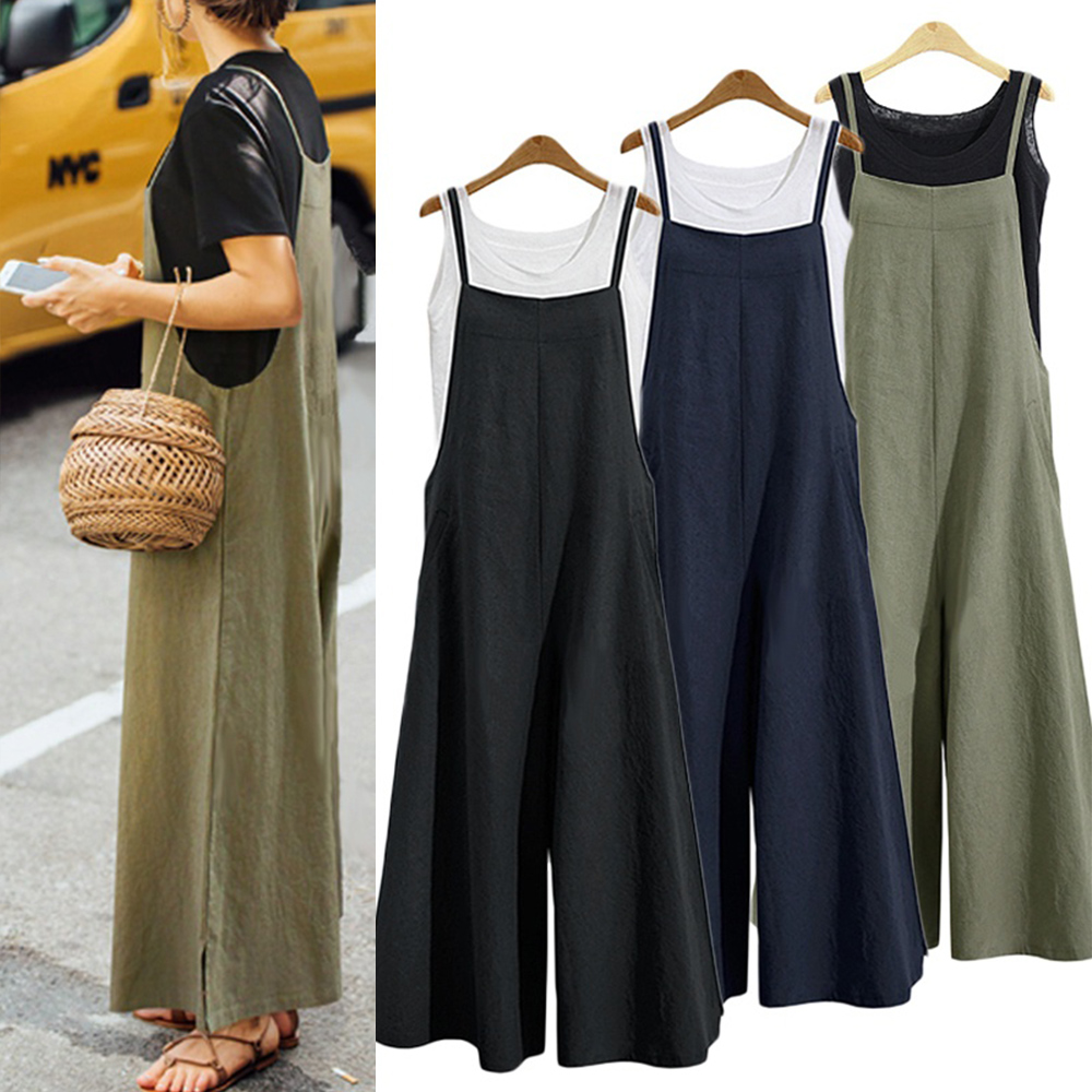 Women Casual Loose Jumpsuit Summer Solid Strap Wide Leg Pants Dungaree Bib Overalls Sleeveless Oversized Cotton Linen Jumpsuits