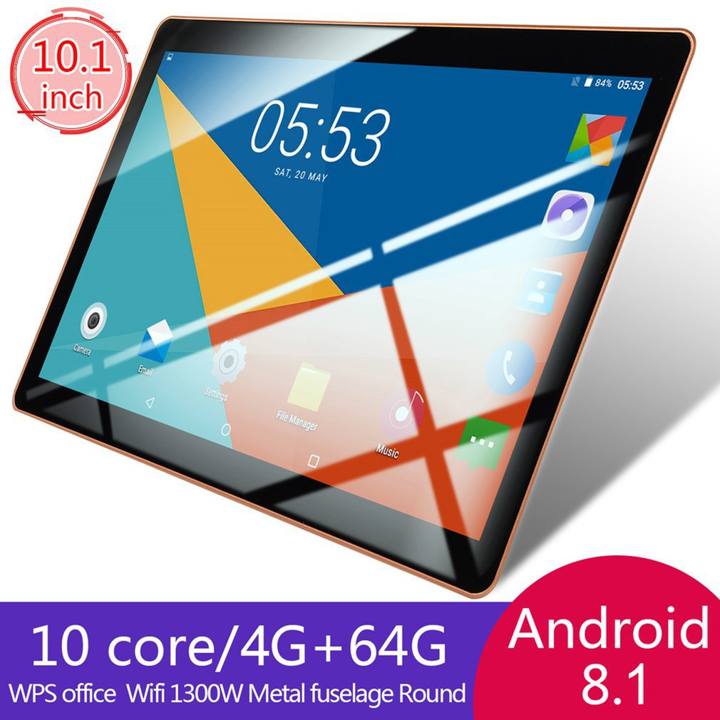 10.1 Inch Tablet Wi-Fi Dual Core 4GB RAM 64GB ROM 2560*1600 Touc Screen Android 8.1  Tablets Built-In Rear Camera