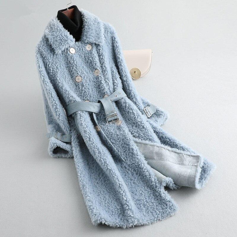 Coat Fur Women's Sheep Shearling Fur Jackets Winter Coat Women 100% Wool Coat With Belt Long Jacket Manteau Femme MY4247