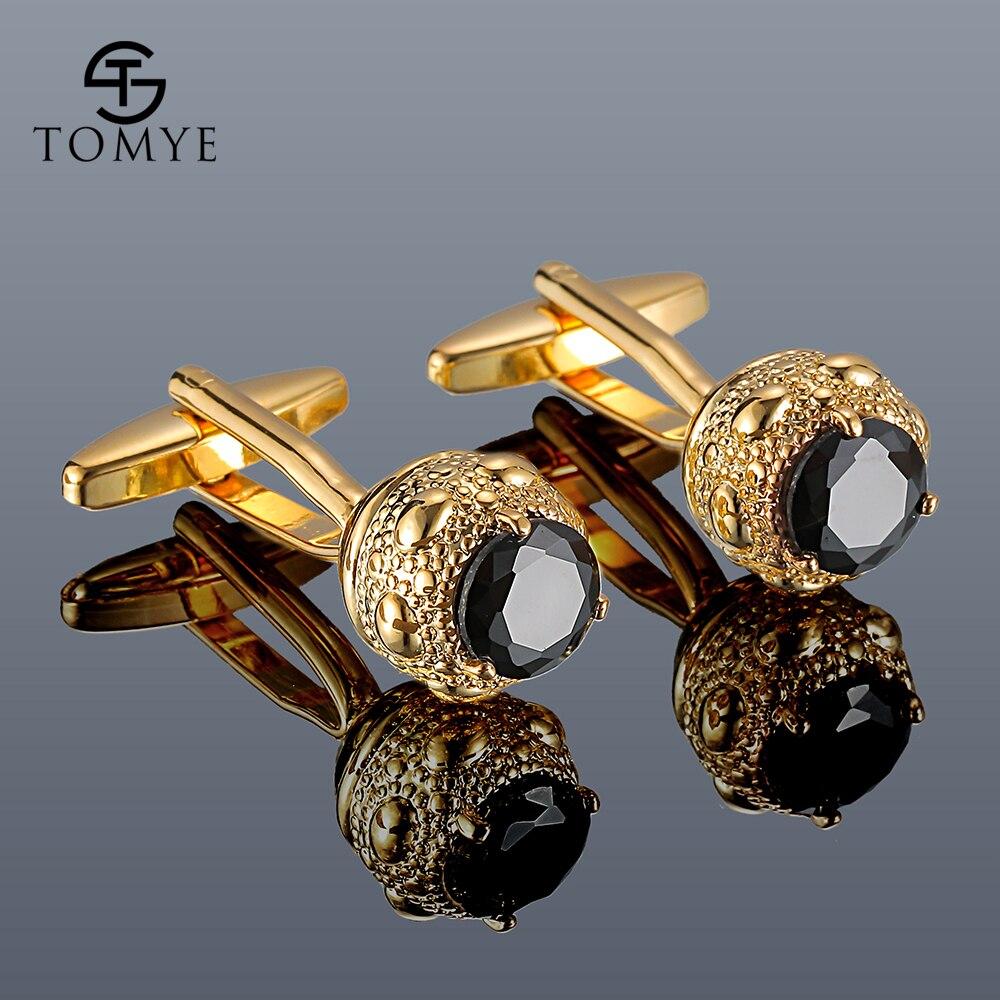 Men Cufflinks TOMYE XK20S009 High Quality Luxury Zircon Golden Silver Color Round Shirt Cuff Links