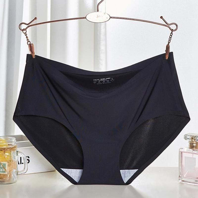 Seamless Panties Ice Silk Underwear Menstrual Panties Lingerie Ladies Hipster Women Solid Sexy Panties Intimate Briefs Seam K1O9