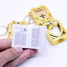 New Mini Keychain Jesus Catholic Religious Jewelry Cross Holy Bible Book Pendant