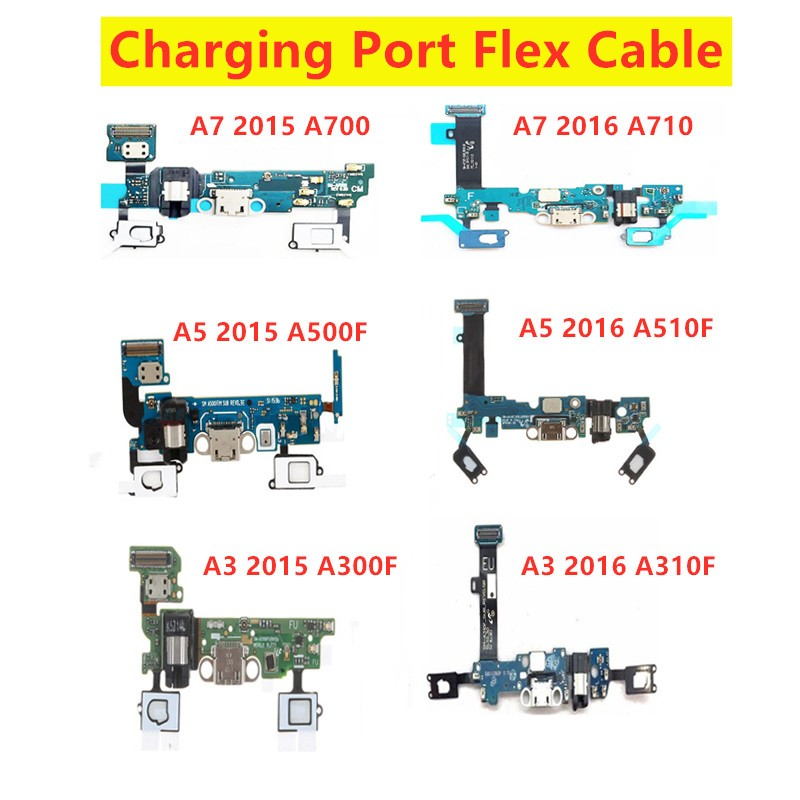 AAA USB Charging Flex Cable With Microphone For samsung Galaxy A5 2015/2016 SM-A510F A500F A3 A300F A7 A700F Charger Port Ribbon(China)