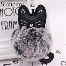 Sitaicery Lovely Cartoon Cat Fluffy Fur Ball Key Chain Pompom Animal Tail Auto Keychain Women Trinket Ring Gift